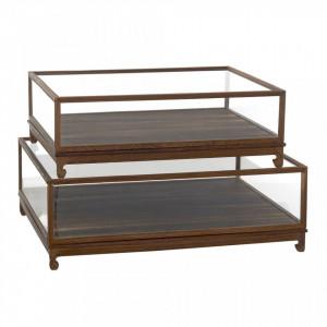 Set 2 cutii maro din lemn cu capac Flat Pols Potten