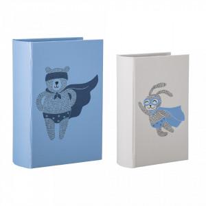 Set 2 cutii tip carte albastre din carton Superhero Bloomingville
