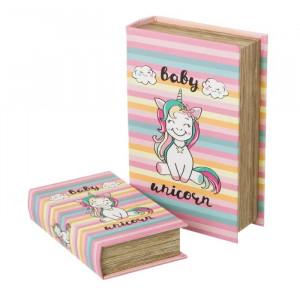 Set 2 cutii tip carte din MDF Unicorn Unimasa