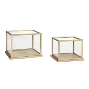 Set 2 cutii transparente/maro din sticla si lemn Giulia Hubsch