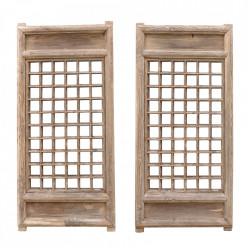 Set 2 decoratiuni de perete maro din lemn de pin 53x102 cm Windows Versmissen