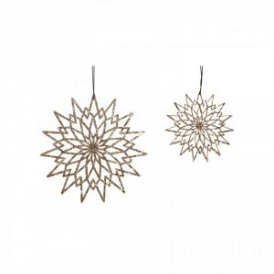 Set 2 decoratiuni suspendabile din textil si cupru Stars Hubsch