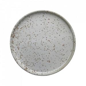 Set 2 farfurii pentru desert din portelan 16 cm Inka White Light Brown Oyoy