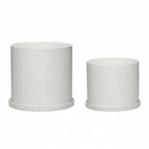 Set 2 ghivece albe din ceramica Lindsey Hubsch
