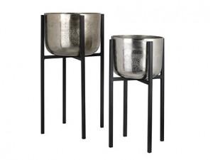 Set 2 ghivece cu suport din aluminiu si fier Elodie Richmond Interiors