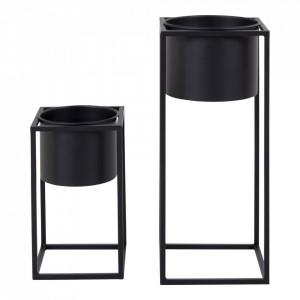 Set 2 ghivece cu suport negre din otel Marla House Nordic