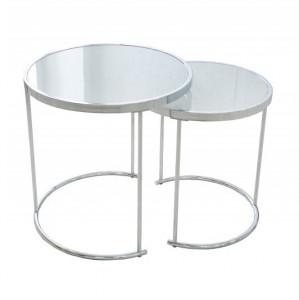 Set 2 masute de cafea albe/argintii din sticla si metal Art Deco Invicta Interior