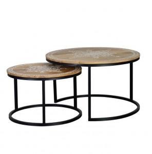 Set 2 masute maro/negre din lemn de mango si fier pentru cafea Nib Giner y Colomer