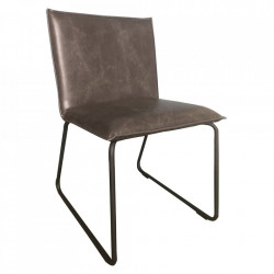 Set 2 scaune dining gri/negre din piele si otel Arys Sit Moebel