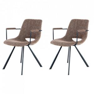 Set 2 scaune dining maro din in si metal Josephine Arms Kayoom