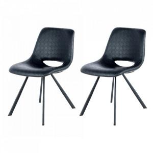Set 2 scaune dining negre din poliuretan si metal Josephine Kayoom
