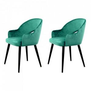 Set 2 scaune dining verzi/negre din catifea si fier Jorie Kayoom