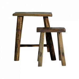 Set 2 scaunele dreptunghiulare maro din lemn Rough Fir Nordal
