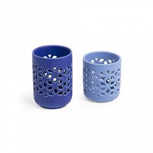 Set 2 suporturi albastre pentru luamanari Locust La Forma