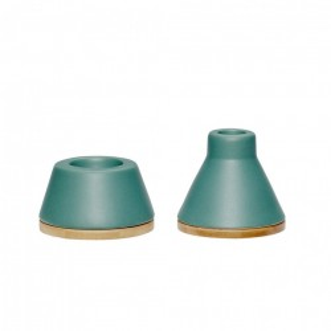 Set 2 suporturi lumanare din ceramica verde Alessandra Hubsch