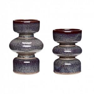 Set 2 suporturi lumanare mov pruna din ceramica Faustino Hubsch