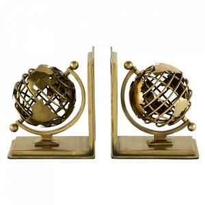Set 2 suporturi pentru carti aurii din inox si aluminiu Globe Eichholtz