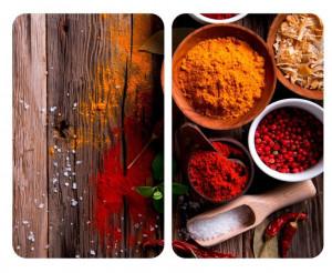 Set 2 tocatoare dreptunghiulare multicolore din sticla 40x52 Universal Spices Wenko