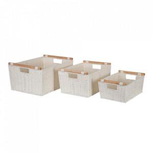 Set 3 cosuri albe din sfoara si lemn de eucalipt Calab Ixia
