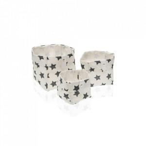 Set 3 cosuri albe/negre din poliester Laundry Basket Black Stars Mini Versa Home