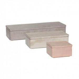 Set 3 cutii cu capac din ciment Deeanna Hubsch