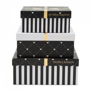 Set 3 cutii cu capac multicolore din carton Regalo Riviera Maison