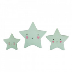 Set 3 decoratiuni verde menta din PVC Stars A Little Lovely Company