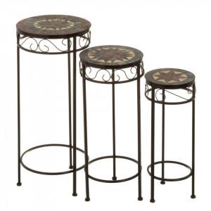 Set 3 masute multicolore din ceramica si metal pentru exterior Vintage Ceramic Trio II Unimasa