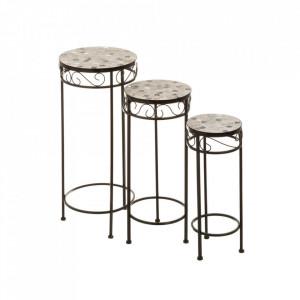 Set 3 masute multicolore din ceramica si metal pentru exterior Elegance Ceramic Trio Unimasa