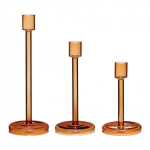 Set 3 suporturi lumanare din sticla Orange Hubsch