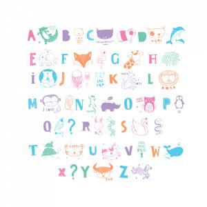 Set 33 de ilustratii pentru caseta luminoasa multicolore ABC A Little Lovely Company