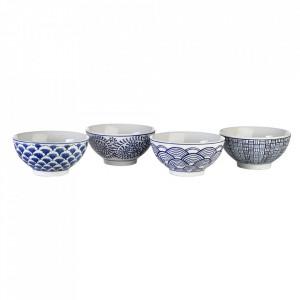 Set 4 boluri alb/albastre din ceramica 430 ml Sushi Pols Potten