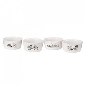 Set 4 boluri albe din portelan 800 ml Bikes Pols Potten