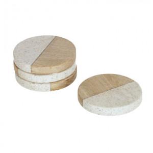 Set 4 coastere albe/maro din marmura si lemn de mango Augustine Kave Home