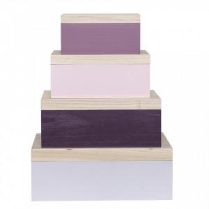 Set 4 cutii cu capac si oglinda multicolor din lemn de paulownia Sonia Bloomingville