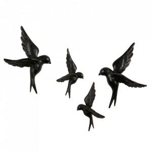 Set 4 decoratiuni negre din rasina Birds Be Pure Home