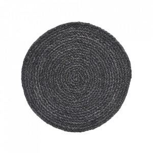 Set 4 protectii masa gri din foaie de porumb 38 cm Circle Dark House Doctor