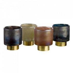Set 4 suporturi multicolore din alama si sticla pentru lumanari 12 cm Belt Pols Potten