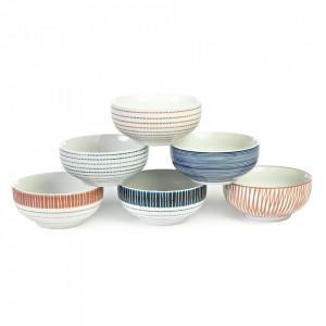 Set 6 boluri multicolore din ceramica 410 ml Stripes Pols Potten