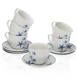 Set 6 cesti cu farfurioare albe/albastre din portelan 7x8,3 cm Bluesea Tea Versa Home
