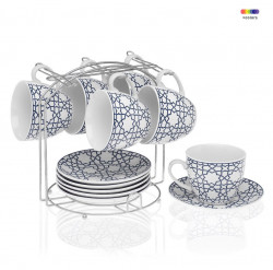 Set 6 cesti cu farfurioare si suport din portelan si metal Tea Blue Versa Home