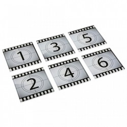 Set 6 coastere albe/negre din sticla Numbers Versa Home