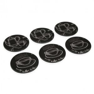 Set 6 coastere negre/albe din polipropilena Coffee Board Versa Home
