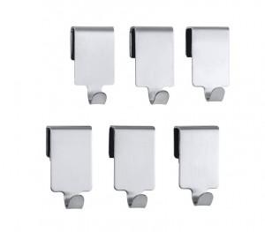 Set 6 cuiere argintii din inox Premium Hook Wenko