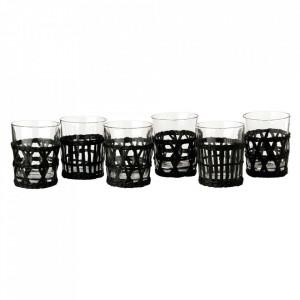 Set 6 pahare transparente/negre din sticla si stuf Abnar Pols Potten