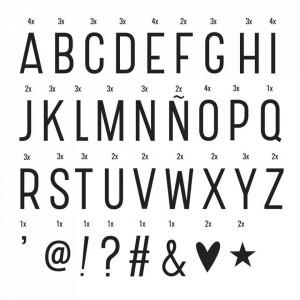 Set 85 de litere si simboluri pentru caseta luminoasa negre Basic A Little Lovely Company