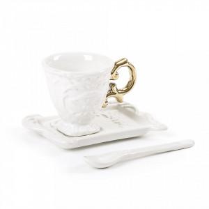 Set ceasca cu farfurioara din portelan pentru cafea 7 cm I-Wares Gold Seletti