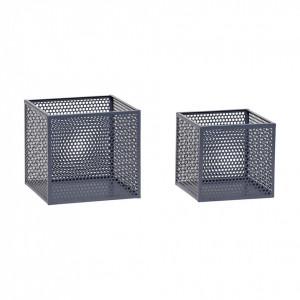 Set cutii gri din metal Hubsch