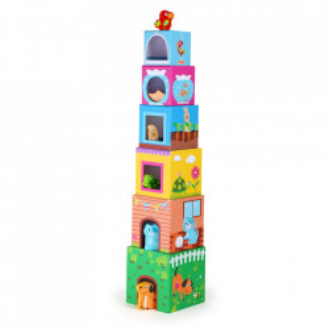 Set de construit multicolor din carton si hartie Cubes Small Foot
