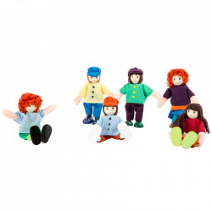 Set de joaca 6 piese din lemn si textil 6 Friends Small Foot